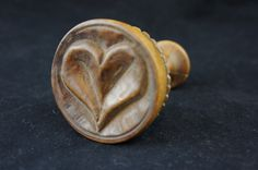 Early Vintage Primative Lathed Turned Wooden Heart Butter Print Mold Stamp | eBay sold 157.60