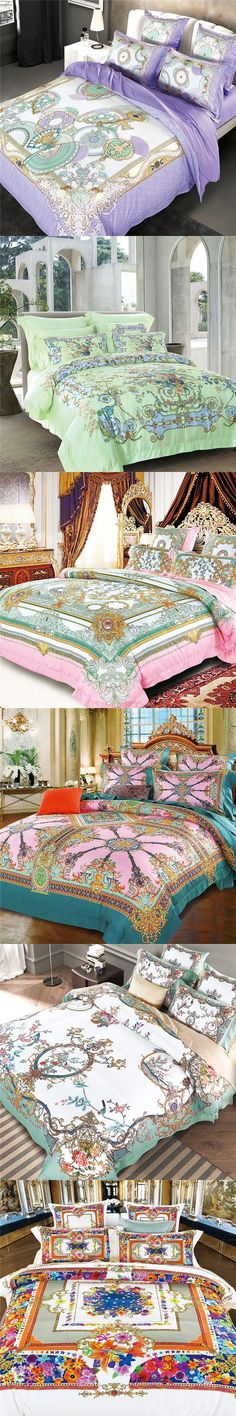 High-grade tencel bohemian style bedding set queen size wedding bed cover middle East style printing stripes duvet cover housse