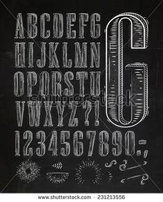 Vintage font set letters in retro style old alphabet on chalkboard - stock vector Chalkboard Art Fonts, Chalkboard Designs, Chalkboard Ideas, Old Fonts, Vintage Fonts, Doodle Lettering, Lettering Styles, Old Fashioned Fonts, Computer Font