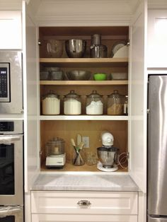 New Kitchen Corner Pantry Baking Station Ideas Kitchen Corner Cupboard, Small Kitchen Pantry, Corner Pantry, Kitchen Redo, New Kitchen, Kitchen Remodel, Kitchen Design, Kitchen Ideas, Wall Pantry