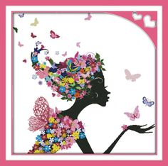 0 point de croix femme fleurs et papillons - cross stitch girl with flowers and butterflies