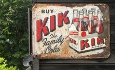"""KIK COLA  - Kik Cola for decades was the original thirst quenching choice of Canadians. An inexpensive alternative to """"The Big three"""" colas, KIK was """"the Cola""""in Canada -  KIK had pretty much disappeared  from the shelves by 1984."""