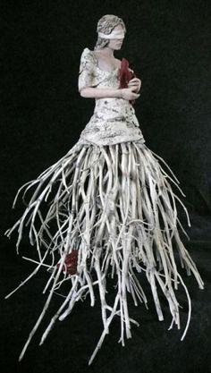 "Susan Saladino - The Last Bird #1  30"" x 24"" x 20""  clay, twigs, oxides, underglaze, applied pigments"