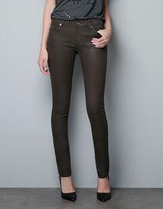WAX SKINNY STRETCH TROUSERS - Trousers - Woman - ZARA