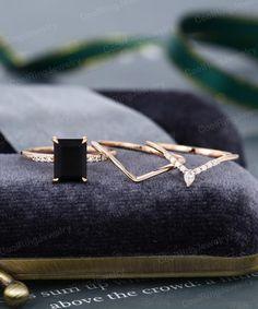 Onyx Engagement Ring, Emerald Cut Engagement, Pear Shaped Engagement Rings, Engagement Ring Settings, Stacked Wedding Rings, Emerald Wedding Rings, Emerald Cut Rings, Plus Size Rings, Black Rings