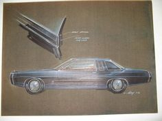 18 X 24. Brown canson paper; dark blue Ford LTD with door panel detail; prismacolor, ink & gouache; Original signed Gump (5-72).