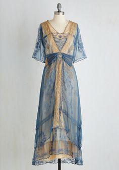 My Side of the Storybook Dress - Blue, Solid, Embroidery, Special Occasion, Boho, A-line, Short Sleeves, Woven, Best, Long, Tan / Cream, Maxi, Vintage Inspired, French / Victorian
