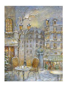 Christmas scene - Paris under the snow - Original painting by Hélène Flont