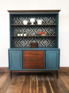 This mid century modern China cabinet has been updated by adding some painted an. - This mid century modern China cabinet has been updated by adding some painted and fabric elements w - Modern China Cabinet, China Cabinet Redo, Painted China Cabinets, Refurbished Cabinets, Repurposed China Cabinet, Painted Hutch, Modern Cabinets, Furniture Projects, Furniture Makeover
