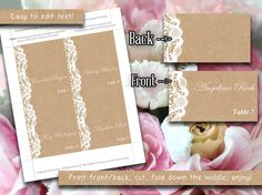 "Wedding Place Cards Template | ""Vintage Lace"" Kraft Shabby Chic Escort Card 