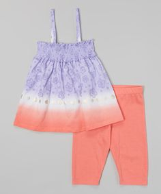 Loving this Blue & Orange Dip-Dye Stripe Tunic & Capri Leggings - Girls on #zulily! #zulilyfinds
