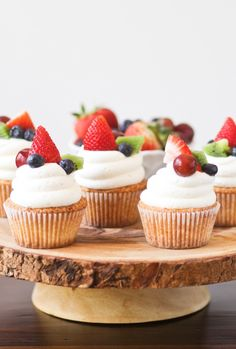 Fruit Pizza Cupcakes -- Sugar cookie flavored cake with cream cheese frosting and fresh fruit.  I've found my new go-to Summer dessert!