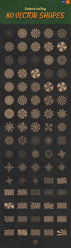 80 Sunburst And Ray Vector Shapes