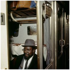 Thelonius Monk in train compartment, 1950s.