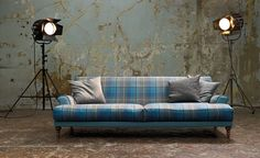 tartan and plaids – for fridays Tartan Chair, Plaid Sofa, Tiny Living Rooms, Large Cushions, Pastel Decor, Mid Century Chair, Upholstery, House Design, Interior Design