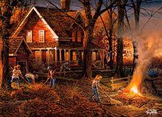 ... , Evening, Family, Fire, Home, Leaves, Painting, Raking. Artist: Terry Redlin