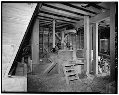 File:VIEW OF FIRST FLOOR MILL STONE GRINDING AREA - Guyn's Mill, Grist Mill, Mundy's Landing and Pauls Mill Roads, Troy, Woodford County, KY HAER KY,120-TROY.V,2A-15.tif