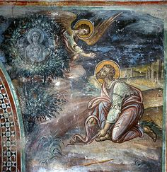 Cyprus, Kalopanayiotis, Latin Chapel of the monastery of St John Lampadistis, Moses and the Burning Bush, Italo-Byzantine style century mural Byzantine Icons, Byzantine Art, Religious Icons, Religious Art, Burning Bush, Moise, Art Icon, Orthodox Icons, Sacred Art