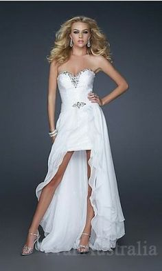 85aff626d176 La Femme 17377 Beautiful Strapless White High Low Dresses Sequin  Embellished for Homecoming
