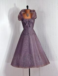 Couture Cocktail Dress: 1950's, sequined Chantilly lace.