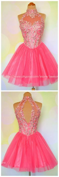 $119 Cheap Homecoming Dress backless cocktail gowns http://www.dhgate.com/product/2014-water-melon-high-neck-ball-gown-bling/198536632.html
