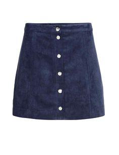 Falda de ante trapecio abotonada de H&M,