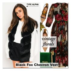 """""""Black Fox Chevron Vest & Maxi dress"""" by typealpha ❤ liked on Polyvore featuring Dolce&Gabbana, Malone Souliers, Prada and vintage"""