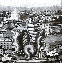 Escher Rome and the Griffin of Borgheses, 1927 Mathematical Drawing, Hyperbolic Geometry, Mc Escher, Vintage Art Prints, Weird World, Gravure, Art World, Surrealism, Rome