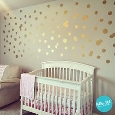 "3 and 4 inch peel and stick gold polka dot wall decals by Polka Dot Wall Stickers. Promo code ""pin427"" for 15% off!"