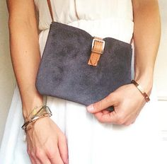Soicé - we LOVE Summer! Handmade bag made of real leather in dark blue, Lovely!