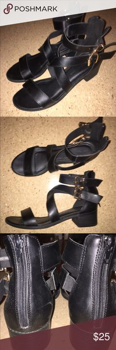 Edgy strappy sandals These are sadly too big on me😞 These are such a cute/fashionable pair of shoes! The buckles do make a bangle sound when you walk! Has zipper back so you don't have to keep doing and undoing the buckles. Minimal heel Shoes Sandals