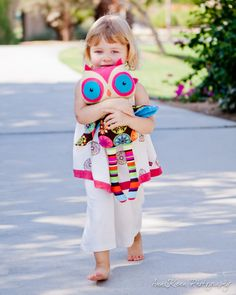 Plush Owl Rag Doll  Bright Peacock Flowers by LittleDeMouraDesigns, $29.95