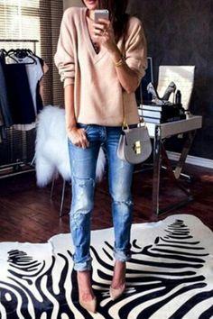 Bleach Wash Hole Jeans #iadorefashionn ?lkid=8098