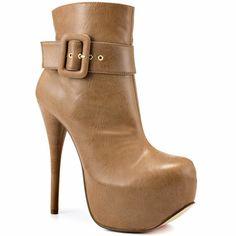 Long Dance – Khaki Leather Ankle Boots