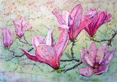 Masa paper on Watercolour paper Watercolor Paper, Watercolor Paintings, Watercolors, Magnolia Branch, Inspirational Artwork, Textile Art, Textiles, Fabric, Beautiful