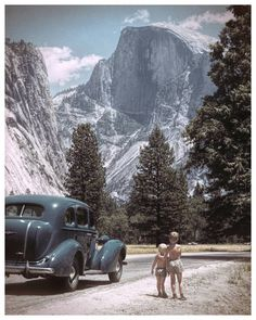 """Can we get an """"Awwww"""" for this one? Two brothers, Half Dome, a vintage car in an old photo of one of the most beautiful places on Earth? How can you beat that? This is 8x10 but can certainly be made l Go Camping, Camping Hacks, Outdoor Camping, View Photos, Old Photos, Vintage Photos, Vintage Photographs, Yosemite National Park, National Parks"""