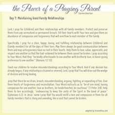 Maintaining good family relationships - Praying for Your Children from Stormie Omartian - Day 7