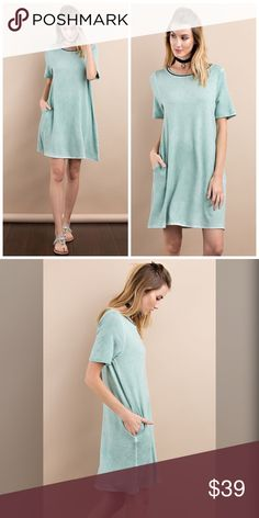 PREORDER beautiful oil wash pocket dress! SHORT SLEEVE LIGHT FRENCH TERRY KNIT OIL WASHED LOOSE FIT T-SHIRT DRESS WITH SIDE POCKETS Dresses
