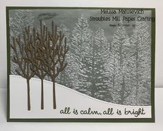 Homemade Christmas Cards, Stampin Up Christmas, Christmas Cards To Make, Xmas Cards, Homemade Cards, Christmas Trees, Evergreen Forest, Embossed Cards, Winter Cards