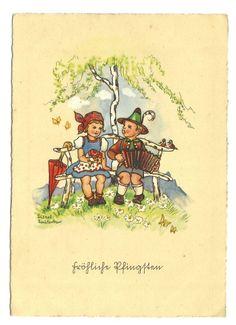 Liesel Lauterborn, Kinder auf der Bank, Junge mit Ziehharmonika, 40er