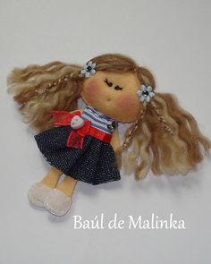 Felt Brooch Fabric Brooch Felt doll Doll Brooch by Bauldemalinka, €15.00