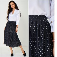 Black and White Polka Dot Midi Skirt Pleated 40s 50s Vintage Sizes UK 8 10 12 14 #Unbranded #Pleated #Formal