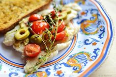 Flaky Sole Baked en Papillote with Tomatoes, Green Olives, Capers ...