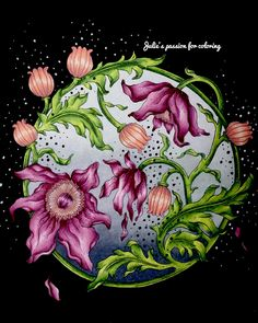 Tidevarv by Hanna Karlzon | julie's passion for coloring w/video; Mar 2018 #hannakarlzon #adultcoloringbook #coloringbook #coloring #coloriage #colouringforadults #coloredpencils #adultcoloring #colouring #colouringbook #coloringtutorial #seasons #juliebouve #juliespassionforcoloring