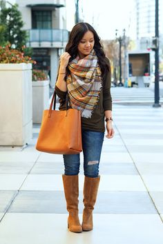 4f4994d7 Fashion How To Wear Cardigan, How To Make Scarf, Brown Boots Outfit