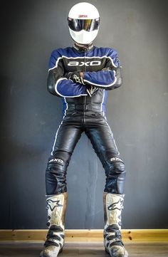 Axo two-piece leathers motorbike suit blue black and white all leather - Bike Suit, Motorcycle Suit, Motorcycle Leather, Biker Leather, Leather Men, Motorcycle Clothes, Motorcycle Jackets, Motard Sexy, Motorbike Leathers