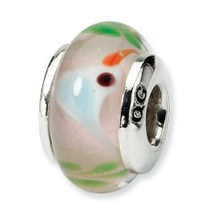 Sterling Silver Reflections Kids Blue Bird Mur.Glass Bead Real Goldia Designer Perfect Jewelry Gift goldia. $16.97