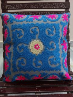 Indian Cushion Cover Suzani Throw Pillowcase 16X16 Ethnic Vintage Pillowshams