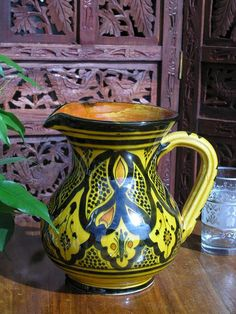 Moroccan ceramic jug in traditional yellow pattern Moroccan Lamp, Yellow Pattern, Soft Furnishings, Lanterns, Perfume Bottles, Pottery, Ceramics, Traditional, Stuff To Buy