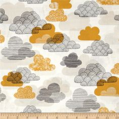 Bark & Branch Organic Passing Clouds Gold/Taupe